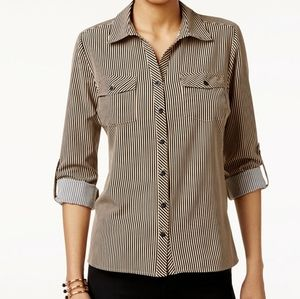 NY COLLECTION SIZE M PETITE UTILITY SHIRT TOP BLOU